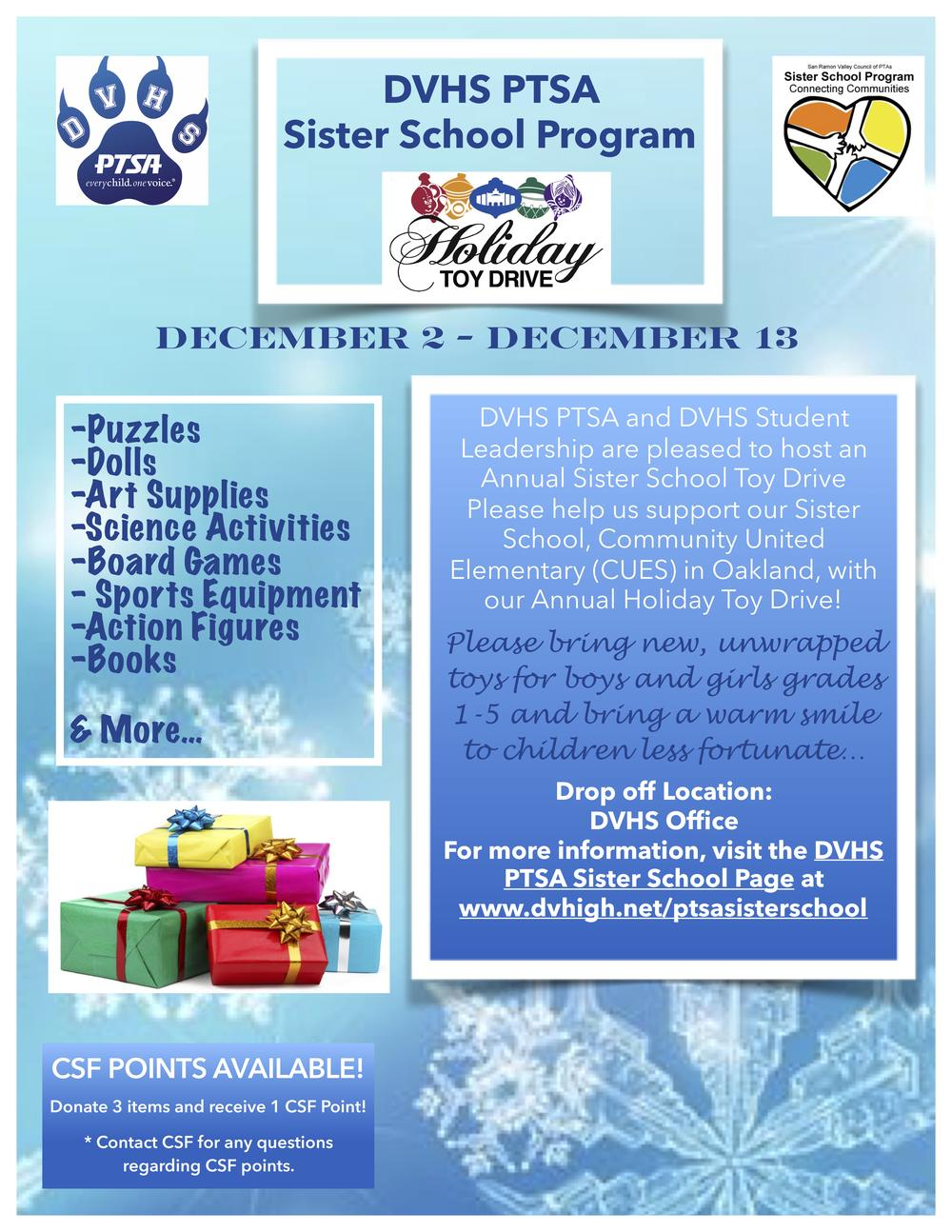Sister School Toy Drive